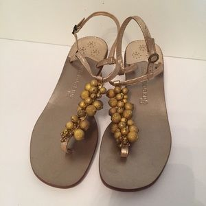 ⭐️JACK ROGERS SHOES SANDALS GOLD BEADS THONG 7.5